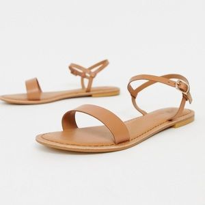 ASOS Flume Leather Flat Sandals Tan